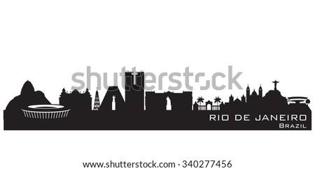 Rio de Janeiro Brazil skyline Detailed vector silhouette - stock vector