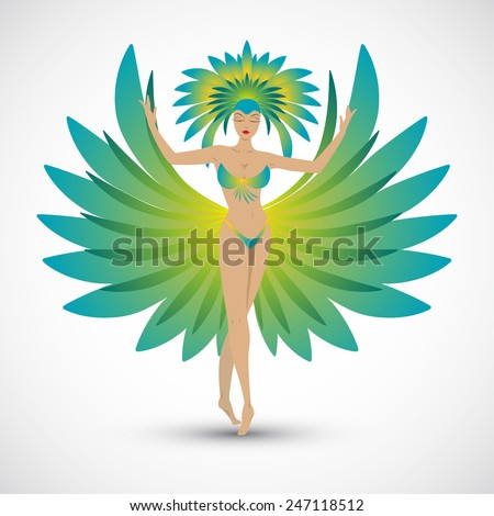 Rio de Janeiro carnival. Silhouette of the samba dancer. Green bikini with tail feathers. - stock vector