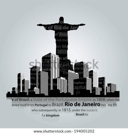 Rio de Janeiro city silhouette. - stock vector