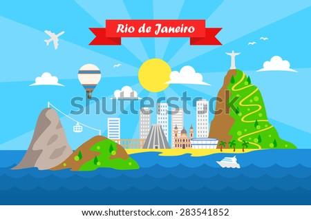 Rio de Janeiro colorful background vector template - stock vector