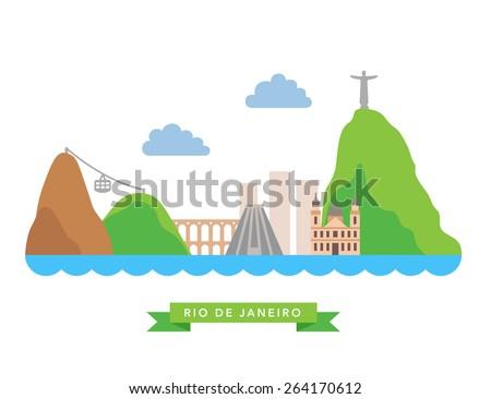 Rio de Janeiro flat background vector - stock vector