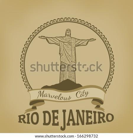 Rio de Janeiro ( Marvelous City) on vintage postcard, vector illustration - stock vector