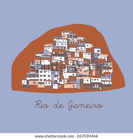 Rio de Janeiro, print design - stock vector