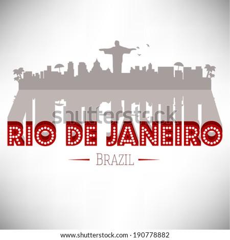 Rio de janeiro Skyline Design, vector illustration. - stock vector