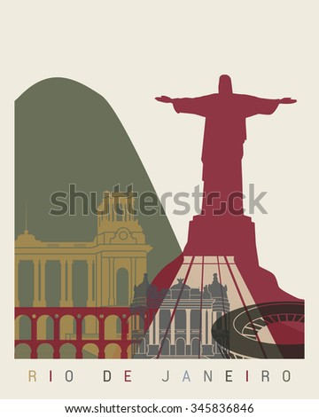 Rio de Janeiro skyline poster in editable vector file - stock vector