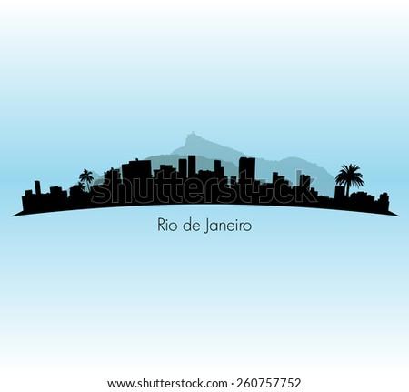 Rio de Janeiro vector Skyline illustration with palm trees  - stock vector