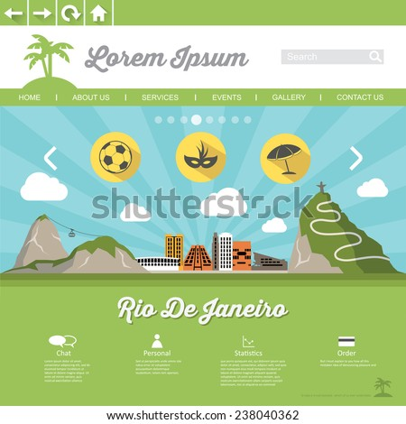 Rio De Jeneiro web page template - flat design - vector illustration - stock vector