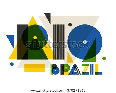 Rio in abstract geometric style. Design for print on t-shirts, tourist brochure, advertising banner. - stock vector