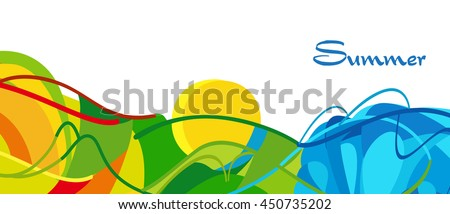 Rio. Summer 2016 Brazil background. Rio de Janeiro abstract Summer landscape. Summer Athletic competition. Sport Brazil Vector Illustration for design, advertising. Brazil beach Summer camp. Rio Sport