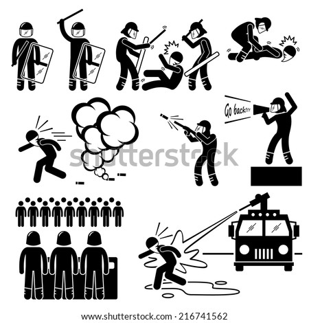 Riot Police Stick Figure Pictogram Icons - stock vector