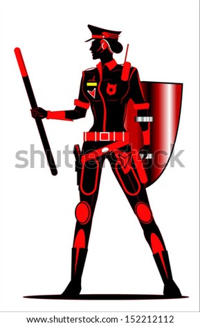 Riot Policewoman. Future policewoman holding a shield and a stick - stock vector