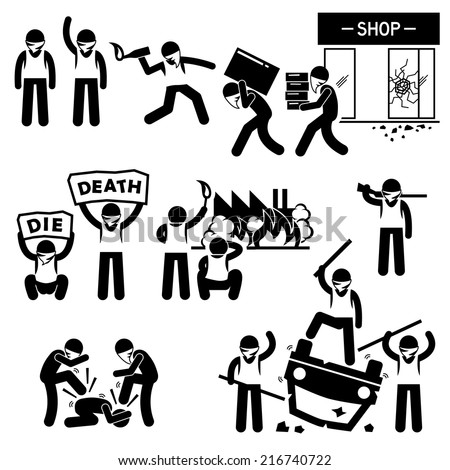 Riot Rebel Revolution Protesters Demonstration Stick Figure Pictogram Icons - stock vector
