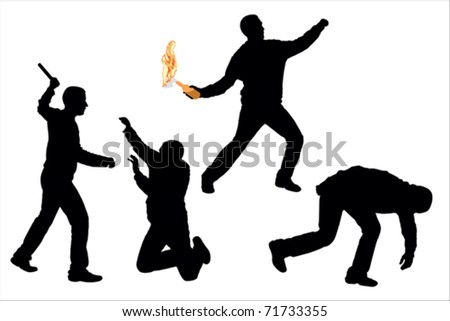 Riots - stock vector