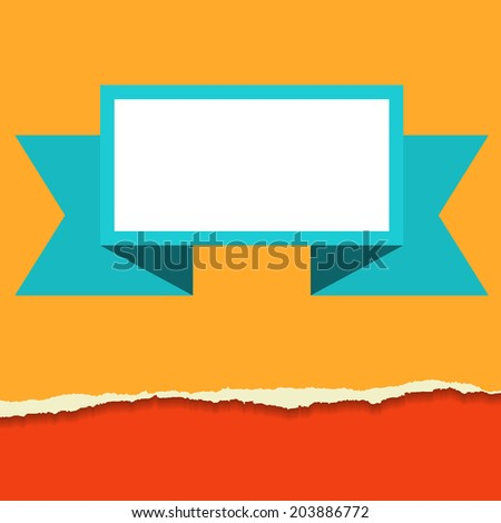 Rip paper background with banner in flat style - stock vector