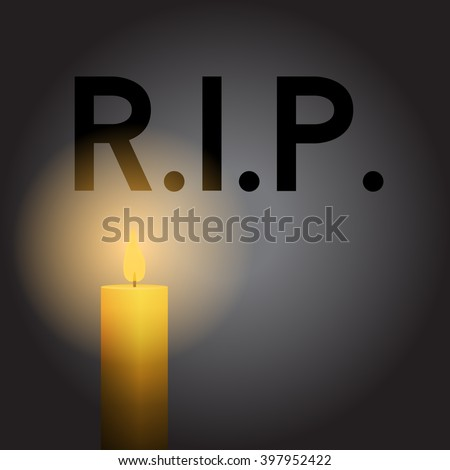 RIP Rest in Peace Candle Vector - stock vector