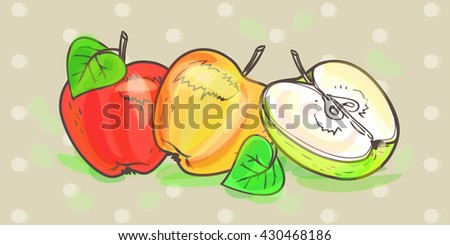 Ripe apples and Apple half, illustration in vector on the abstract background. Beautiful, delicious, realistic, and organic apples for design and execution. Vector watercolor retro art set. - stock vector