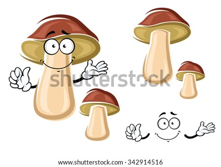Ripe autumnal brown boletus mushroom cartoon character with cheerful smile isolated on white, for healthy vegetarian food theme design - stock vector