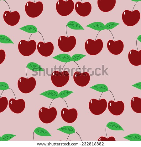ripe cherry. seamless pattern  - stock vector