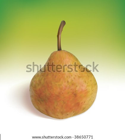 Ripe pear on a green background. Mesh