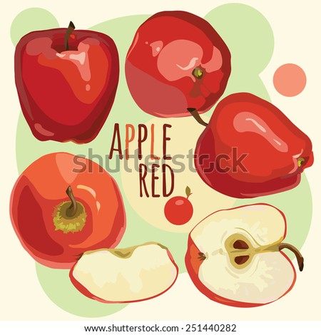 Ripe red apples on an abstract background, icon red apple - stock vector