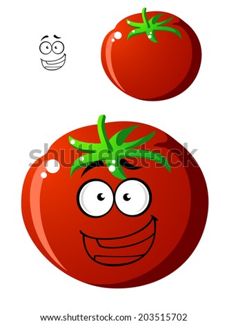 Ripe red cartoon tomato with a happy smiling face and colorful green stalk with a second variation without a face, isolated on white