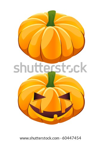 ripe vector pumpkin plus Halloween jack-o-lantern variant - stock vector