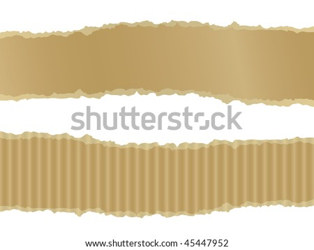 Ripped cardboard banners - stock vector