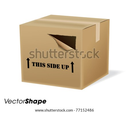 Ripped cardboard shipping box vector illustration - stock vector