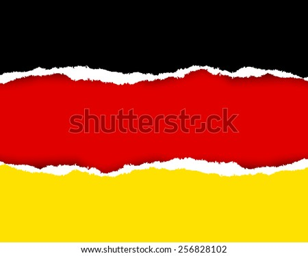Ripped German flag made of torn papers - stock vector