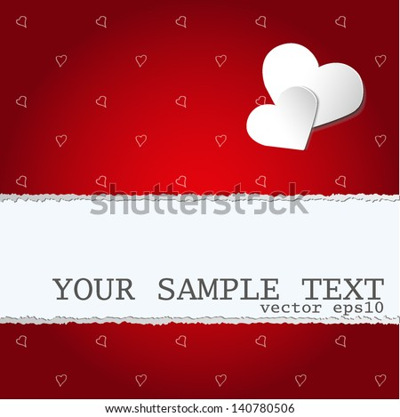 Ripped gift paper with red seamless pattern with hearts and two paper stickers. EDITABLE VECTOR EPS 10 - stock vector