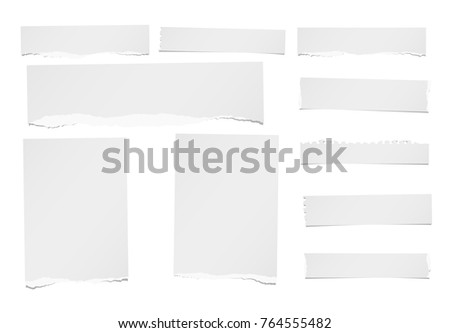 Ripped horizontal and vertical note, notebook, paper strips, sheets for text or message stuck on white background.