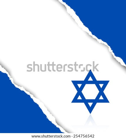 Ripped Israeli background made of torn papers - stock vector