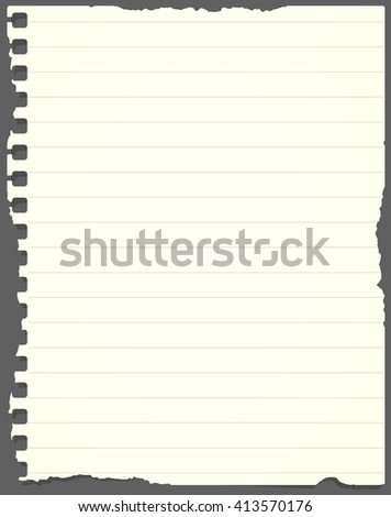 Ripped light green lined notebook paper is stuck on gray background.