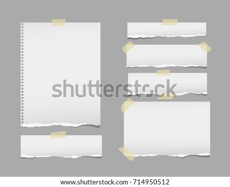 Ripped, note, notebook, copybook paper strips, sheets stuck with sticky tape on gray background.