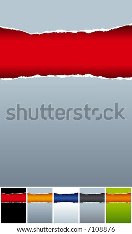 ripped paper background with a few colored patterns ? vector image - stock vector