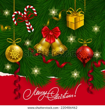 Ripped paper frame design. Festive background with realistic balls, bells, lollipops, gift, serpentine, Christmas trees for greeting card, invitation, congratulation. Vector illustration EPS10. - stock vector