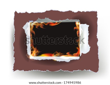 Ripped paper frame with flames for text