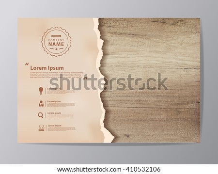 Ripped paper on texture of wood background, Vector illustration modern design ( Image trace of wooden background ) - stock vector