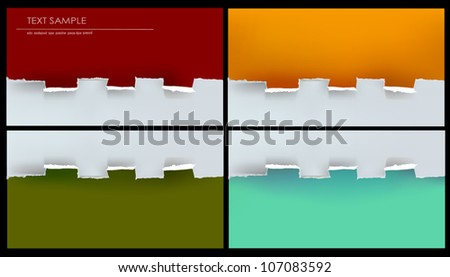 ripped paper set 2 - stock vector
