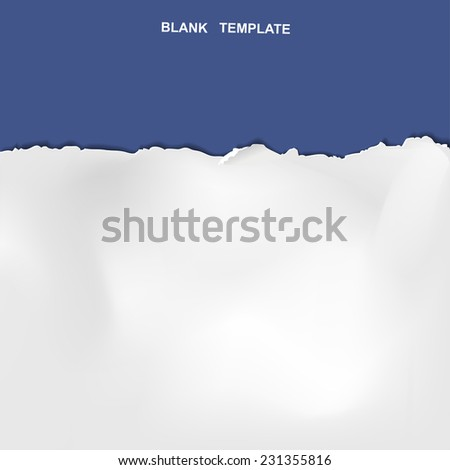 ripped paper template isolated on blue background  - stock vector