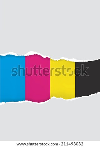Ripped paper  with print colors. Vector illustration of ripped paper with printicolors. Concept for presenting coluor printing. - stock vector
