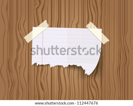 Ripped piece of paper taped with adhesive tapes - stock vector