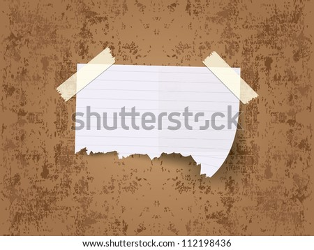 Ripped pieces of paper taped with adhesive tapes - stock vector