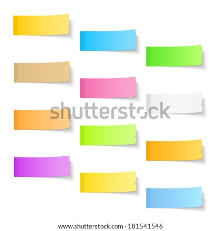 Ripped sticky papers on white background, vector eps10 illustration - stock vector