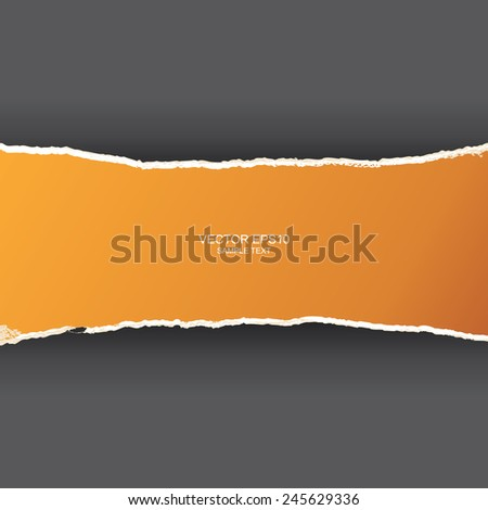 Ripped yellow paper with area for for text on gray background. Vector illustration. - stock vector