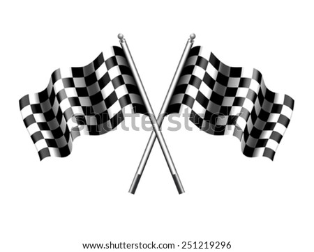 Rippled Chequered Checkered Flags Motor Racing - stock vector