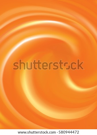 Rippled vibrant golden fond with space for text in glowing center. Curvy fluid surface vivid hot terracotta color. Mixed pure fresh compote of sweet carrot, apricot dessert syrup