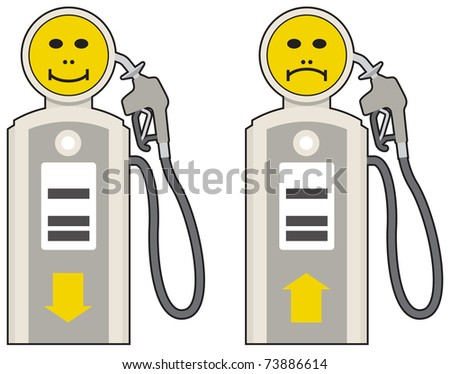 Rising or falling crude oil and petrol prices - stock vector