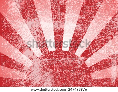 Rising or setting sun with sun rays in red. Vector - stock vector