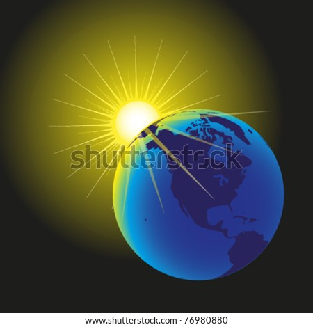 rising sun and the earth - esp 10 - stock vector